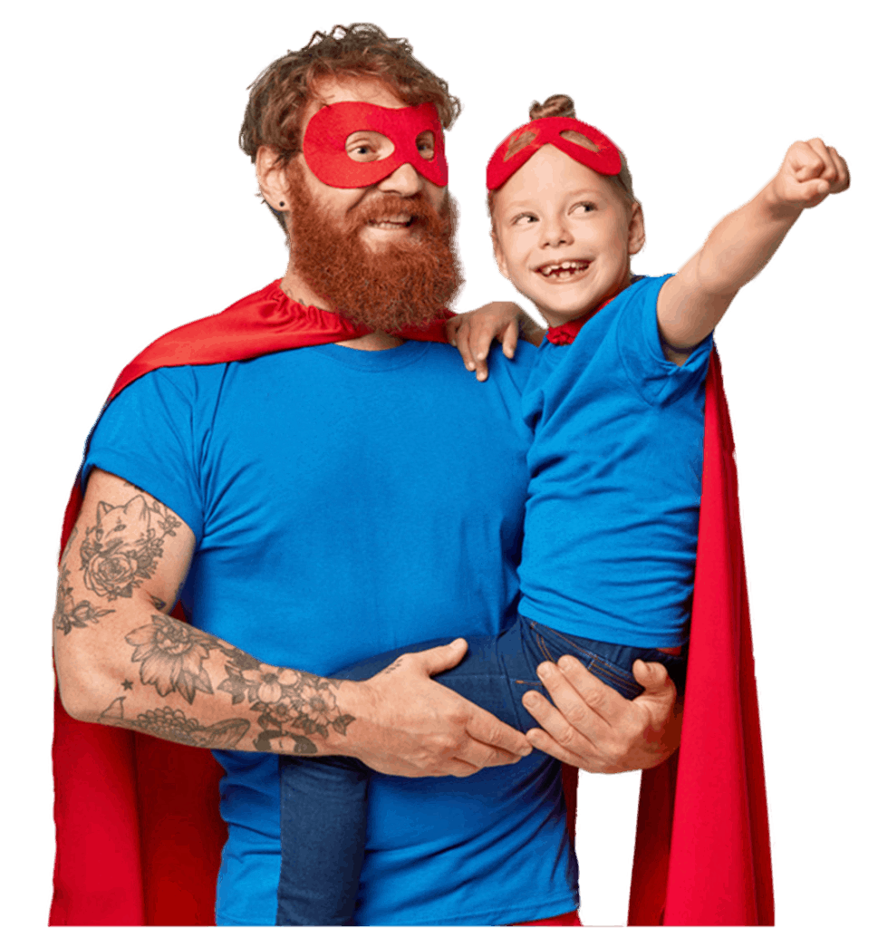 Picture of father and daughter dressed as super heroes.